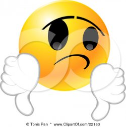 22163_Clipart_Illustration_Of_A_Yellow_Emoticon_Face_Giving_Two_Thumbs_Down_In_Disappointment