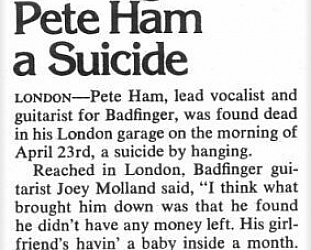 PETE HAM OF BADFINGER: Take a sad song and make it sadder