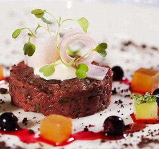 Ben Batterbury's Venison Tartare With Blackcurrants, Gin And Chocolate